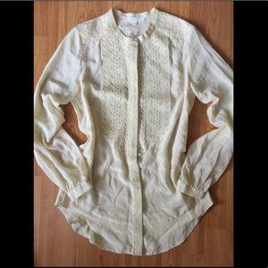 Aryn K • 100% Silk Embroidered Button Down Blouse